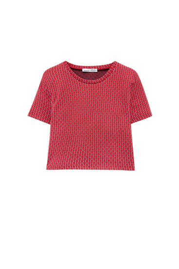 Red jacquard cut-out top