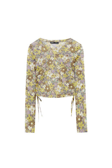 Cropped tulle T-shirt with gathering