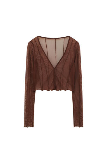 Tulle top with seam detail