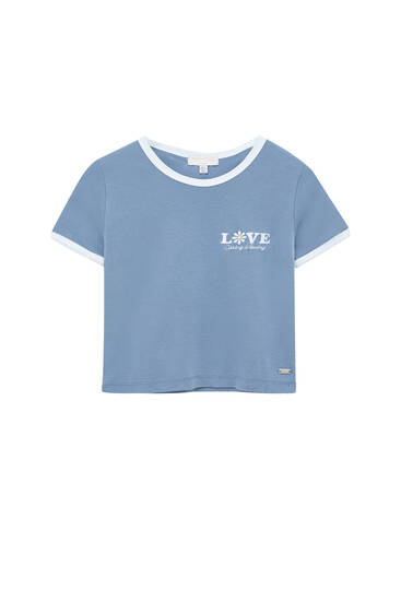 Fitted T-shirt with contrast embroidery