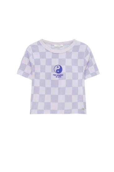 Chequered Yin Yang T-shirt