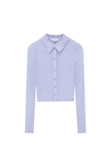 Lilac tulle T-shirt with buttons