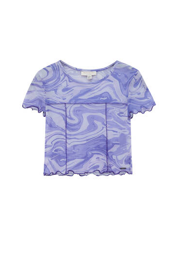 Wavy tulle T-shirt with visible seams