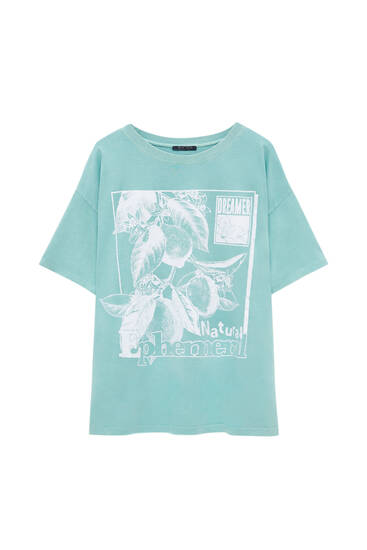 Green T-shirt with lemon graphic