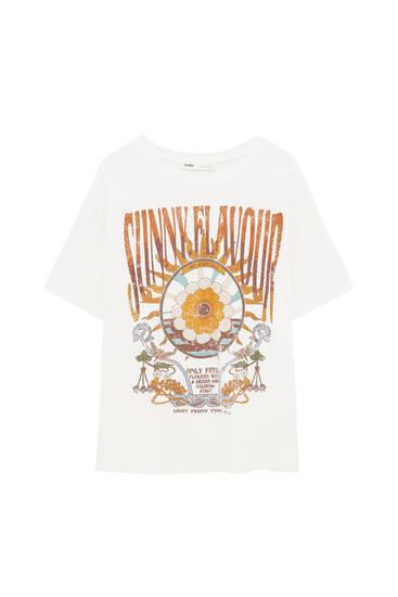 Retro t-shirt with sun graphic