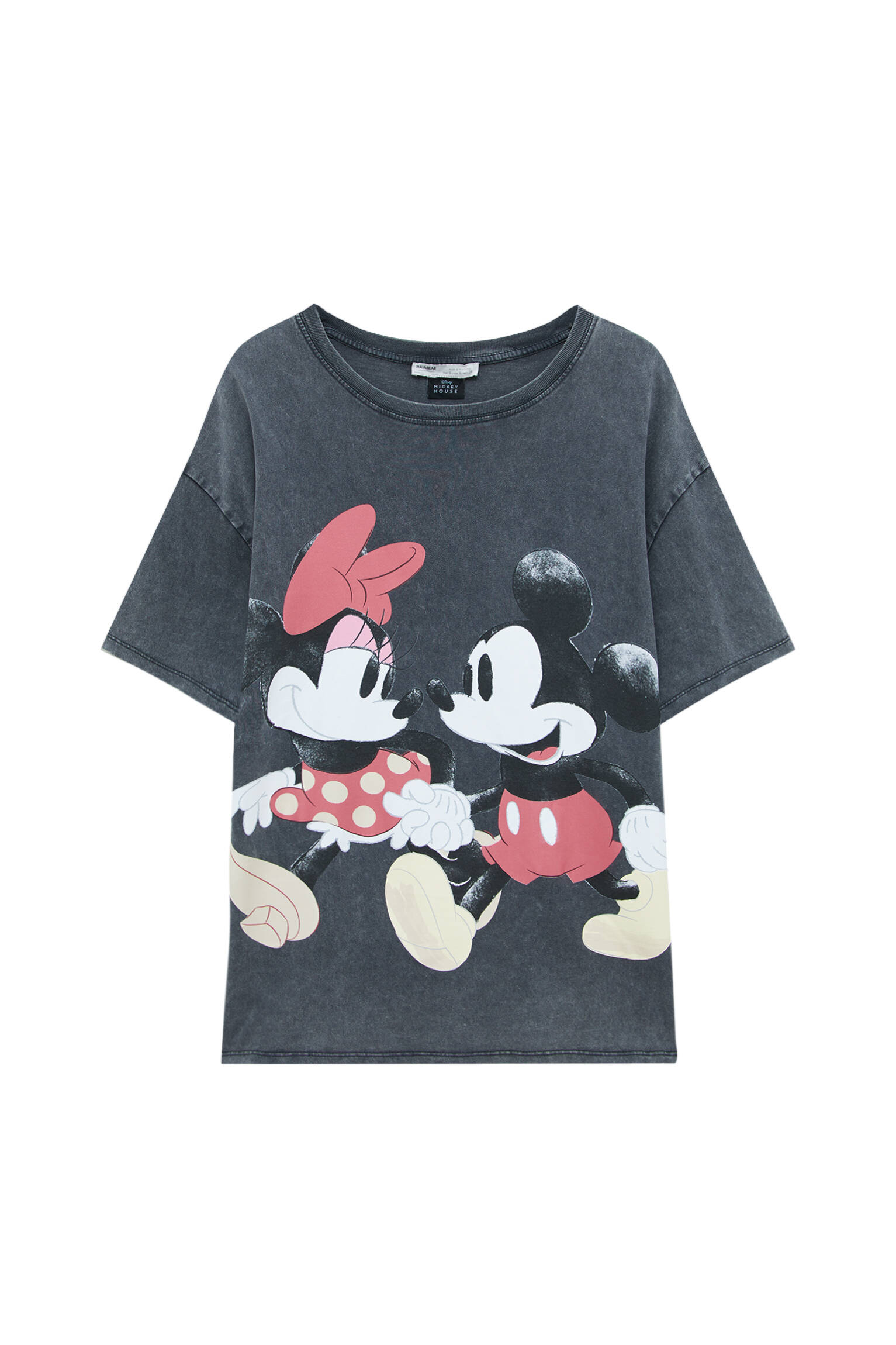 Pull&bear Femme T-shirt Minnie Et Mickey Mouse En Tissu Effet Délavé, à Col Rond Et Manches Courtes.