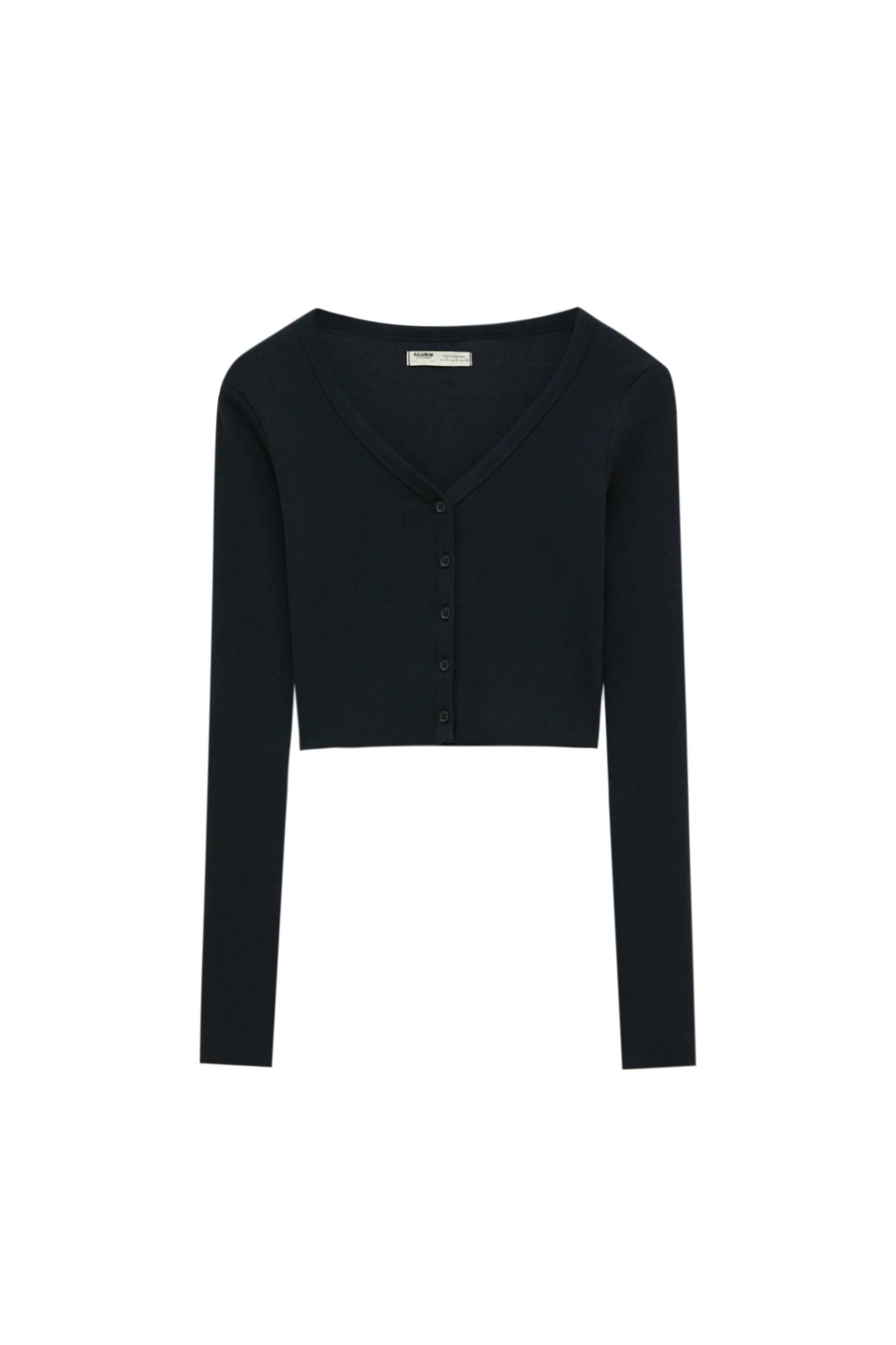 Pull&bear Femme T-shirt Basique Court à Manches Longues Et Avec Boutons Sur Le Devant. Noir S