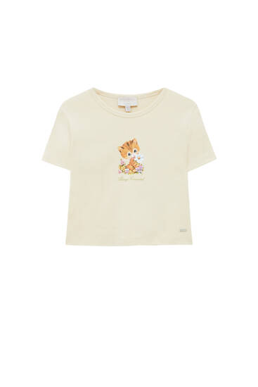 T-shirt with kitten graphic