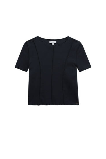 Cropped T-shirt with seam detail