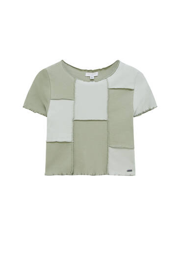 Cropped patchwork T-shirt with seam detail