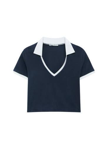 Ribbed varsity polo shirt