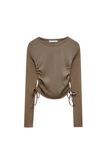 Long sleeve T-shirt with gathered detail