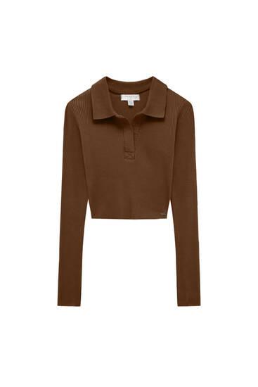 Long-sleeved rib polo shirt