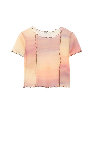 Printed tulle T-shirt with seams