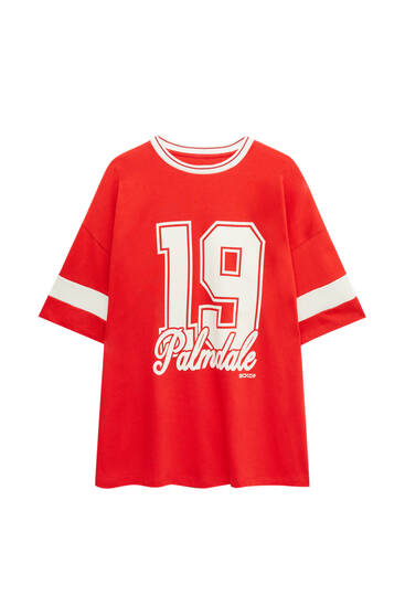 Red varsity T-shirt with number detail