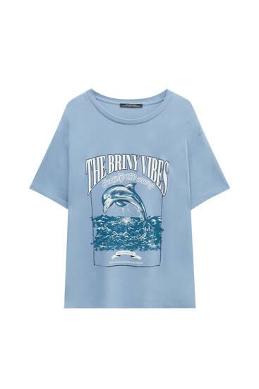 Animal and slogan print T-shirt
