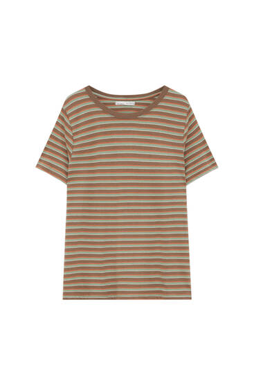 Basic striped T-shirt with contrast collar