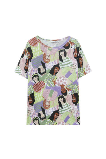 All-over 'chicas' print T-shirt