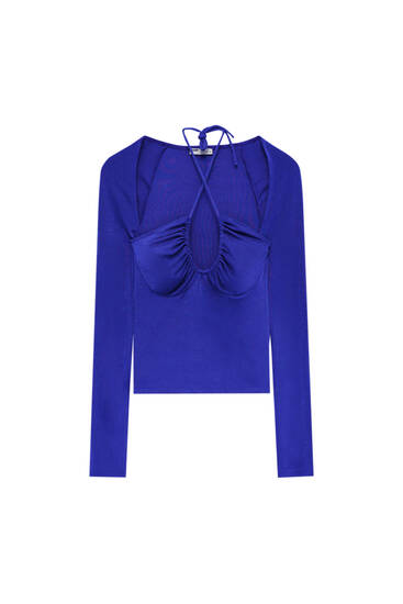 Crossover neckline top with gathering