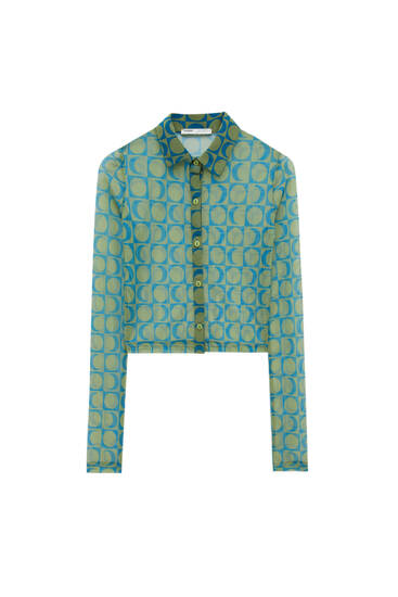 Printed tulle shirt