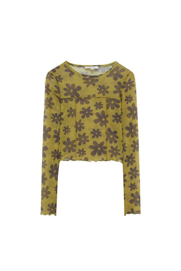 Floral print tulle T-shirt