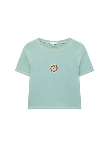 Embroidered heart T-shirt with seams