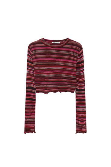 Striped burgundy knit top