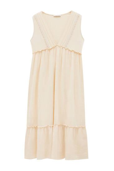 فستان قصير كريب بغرز