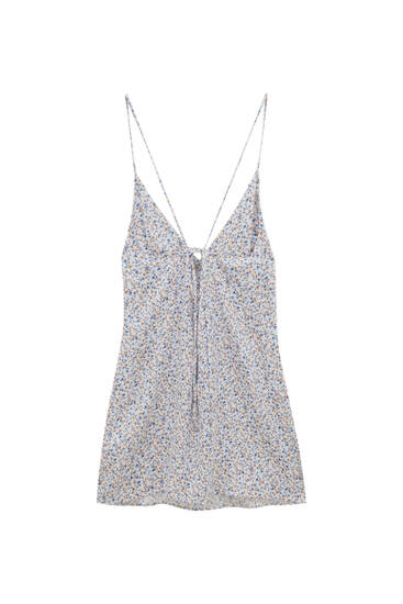 Short dress with open back and floral print - ECOVERO™ viscose (at least 50%)