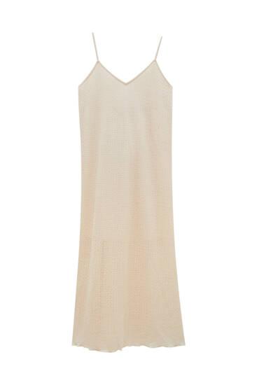 Long open-knit dress