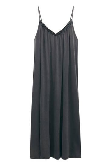 فستان طويل مغسول باهت بحمالات
