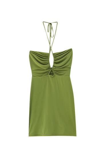 فستان أخضر قصير بزمة