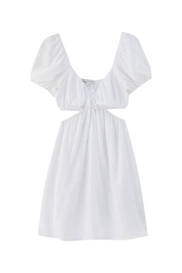Short cut-out dress with puff sleeves
