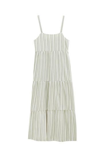 Duga prugasta haljina s naramenicama