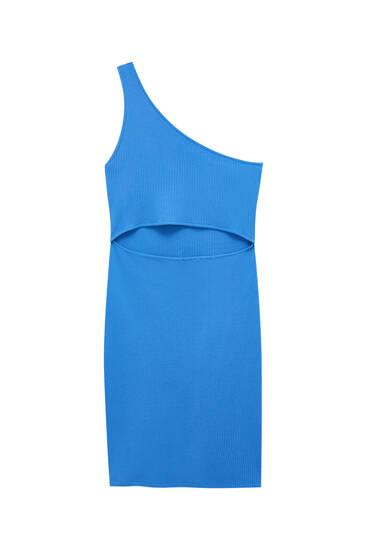 فستان قصير أزرق بتصميم بقصة