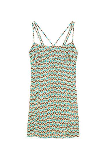 Mini haljina s naramenicama i hippie uzorkom