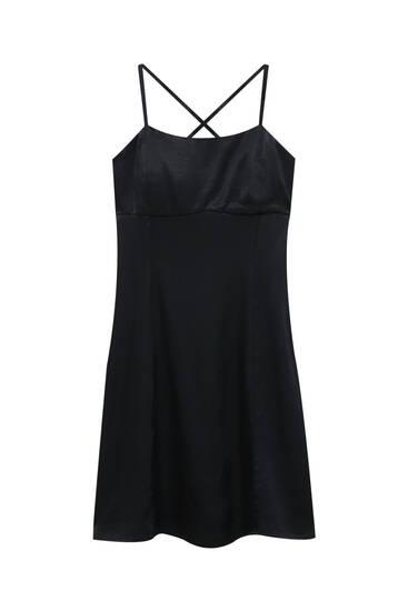 Kratka satenska haljina s naramenicama