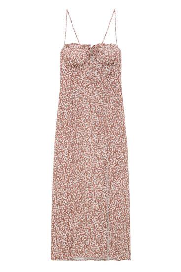 فستان طويل بطبعة وفتحة - فيسكوز ECOVERO™ (ما لا يقل عن 80%)