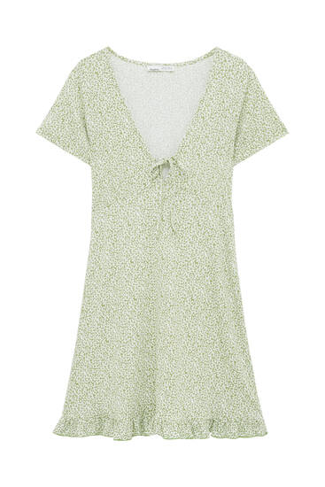 Short dress with ruffled hem