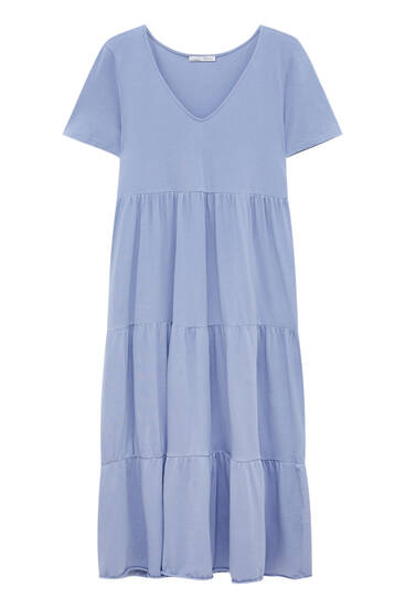 Long tiered dress with short sleeves
