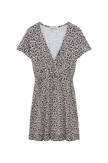 Short printed dress with ruffles