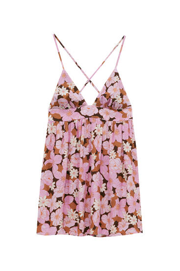 Short strappy dress with retro floral print