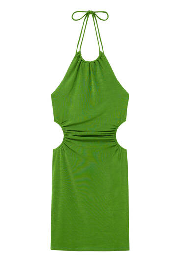 Short halter dress with cut-out detail
