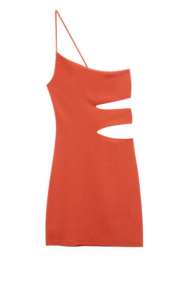 Asymmetric dress with cut-out waist detail