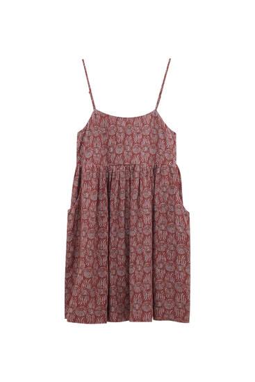 Strappy straight neckline short dress