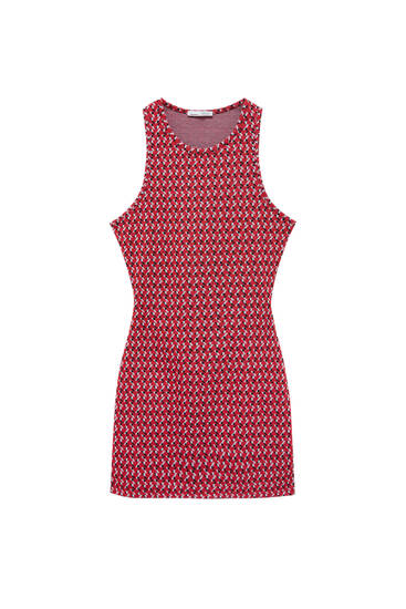 Red jacquard cut-out dress