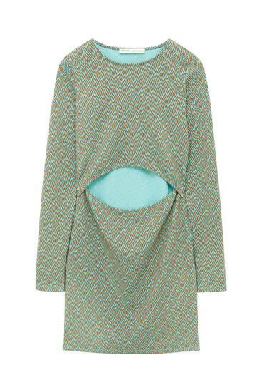 Short jacquard dress with cut-out detail