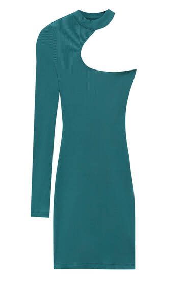 Short ribbed dress with cut-out detail