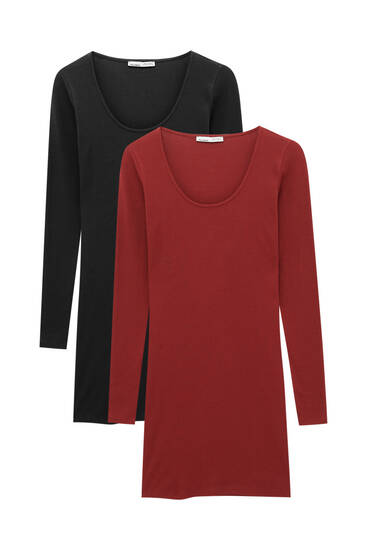 Pack of ribbed long sleeve dresses