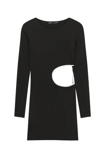 Short cut-out dress with rib detail